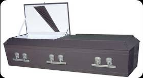 Image of Raised Flat Top Cloth Covered Wood Casket Casket
