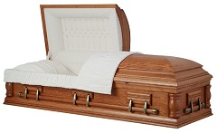 Image of Solid Oak Wood - Rope Design Casket