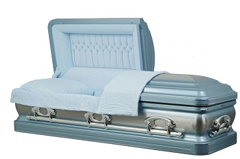 Image of Stainless Steel - Horizon Blue Silver Casket Casket