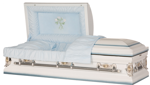 Image of Blue & White Spray Rose Steel Casket Casket