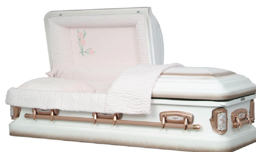 Photo of Carnation White/Coral Steel Casket Casket
