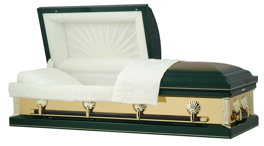 Photo of Hunter Green with Gold Mirrors Casket Casket