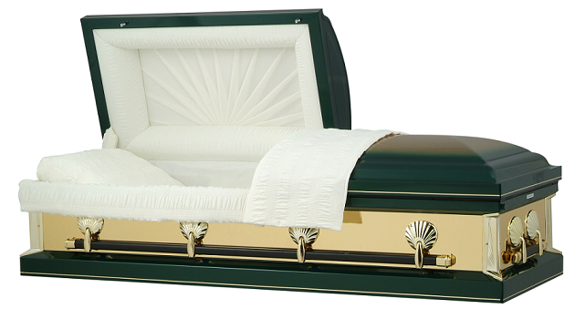 Image of Hunter Green with Gold Mirrors Casket Casket