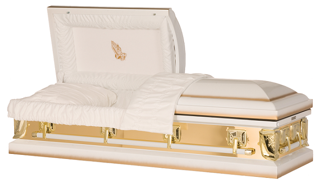 Image of Golden Sunlight with Praying Hands Casket Casket