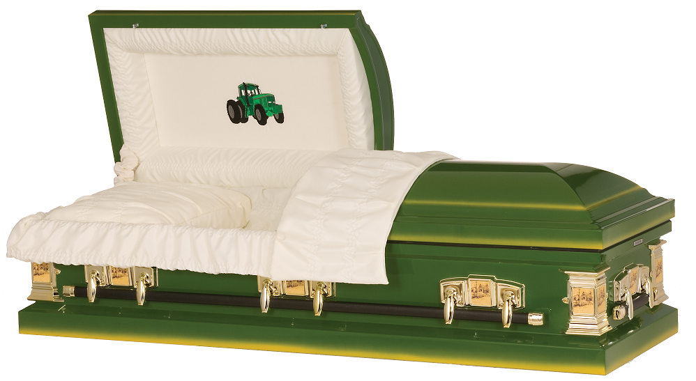 Photo of Farmer Green Tractor Steel Casket Casket