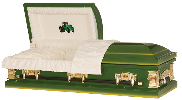 Image of Farmer Green Tractor Steel Casket Casket