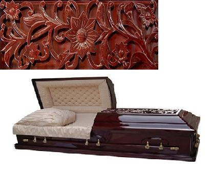 Photo of Floral Carved  Flat Top Poplar Casket Casket
