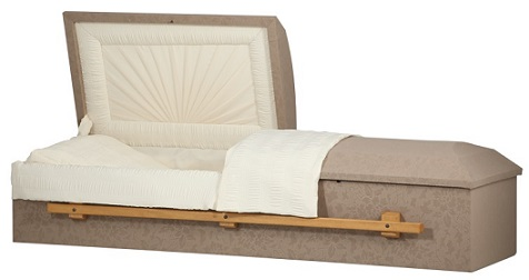 Image of FABRIC COVERED - Taupe w/Wood Handles Casket