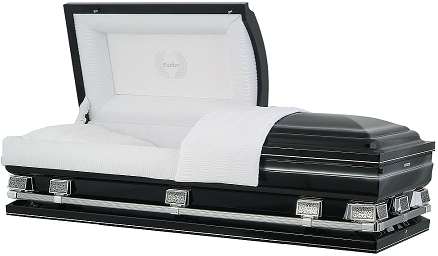 Image of Midnight Black with Silver OverSize Casket