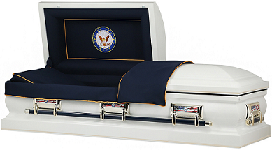 Image of US NAVY WHITE American Steel Casket Casket