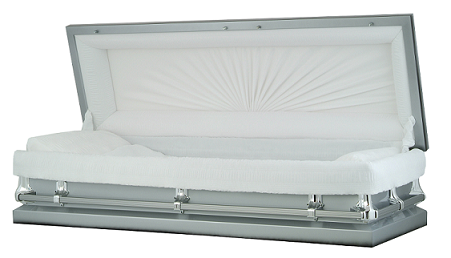 Image of Silver Steel Full Couch Casket Casket