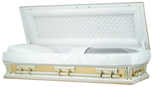 Image of Tuxedo White w/Gold Mirror Full Couch Casket Casket