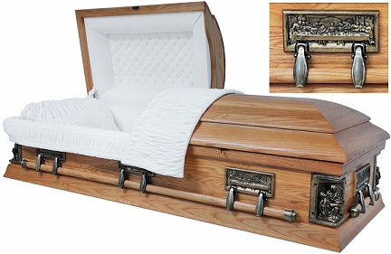 Image of Red Finish POPLAR LA PIETA -  VENEER Casket