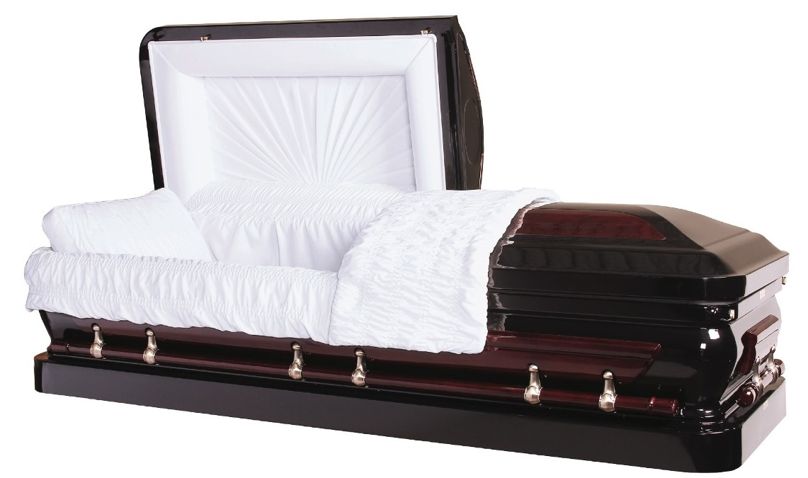 Photo of Solid Cherry Wood/Metal Black Casket Casket
