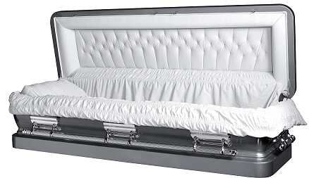 Image of LIBERTY ROYALE SILVER Full Couch Steel Casket Casket