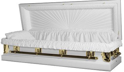 Image of Regal White/Gold Full Couch Casket with Gasket/Lock Casket