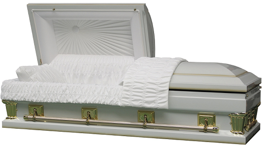 Image of Franklin White Oversize - interior in either 27.5 in or 30.5 in size Casket