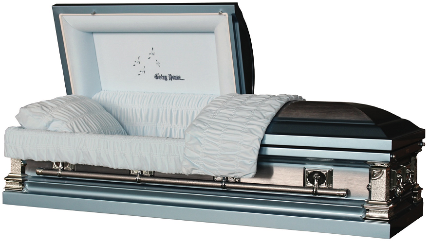 Photo of Going Home Sky Blue Metal Casket Casket