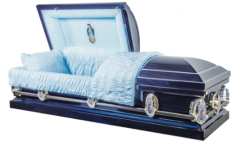 Image of Navy Blue Lady of Guadalupe Metal Casket Casket