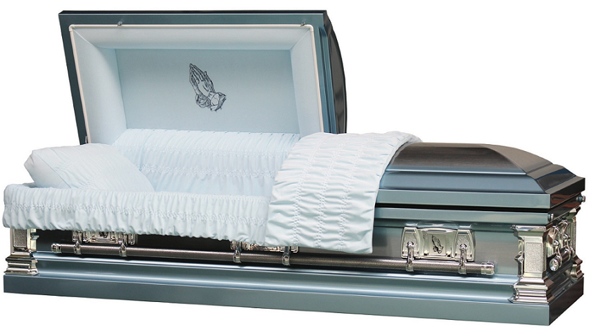 Photo of Traditional Praying Hands Blue & Silver Casket Casket