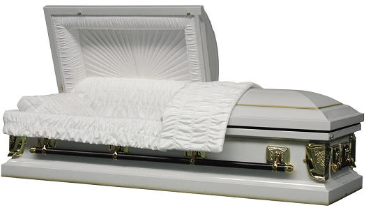 Image of Regal White/Gold 20ga Casket with Gasket/Lock Casket