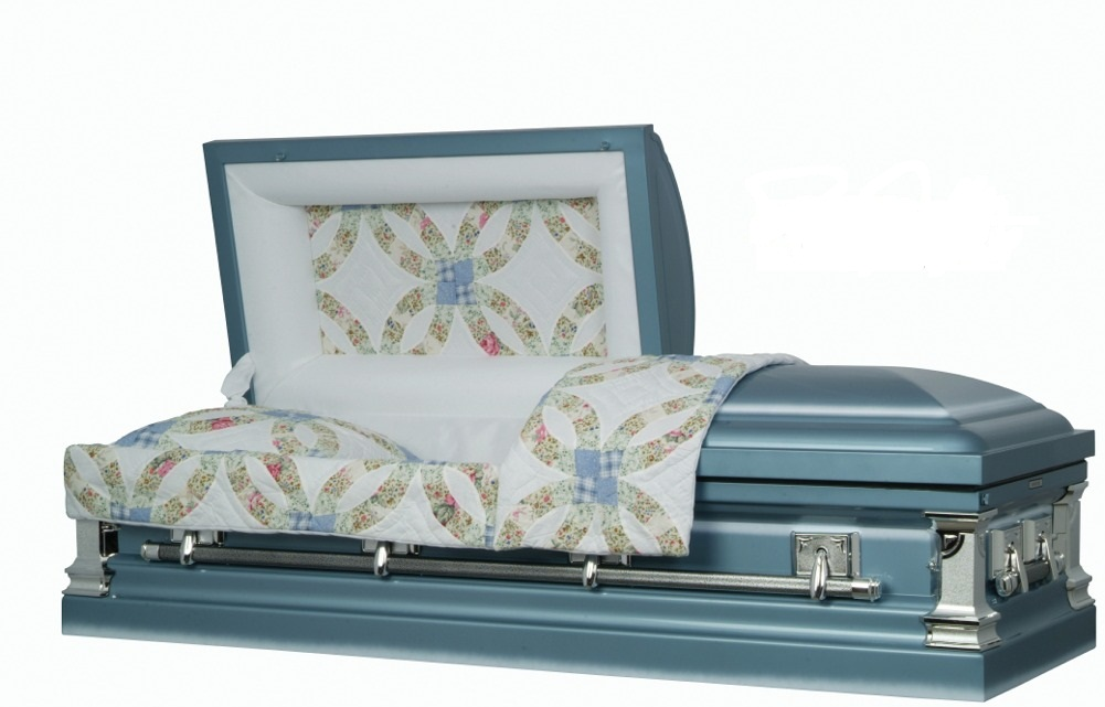 Photo of Wedding Rings Quilt Steel Casket Casket