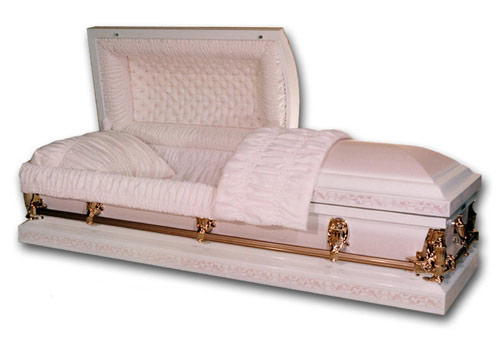 Photo of Florence Pink and White Steel Casket Casket