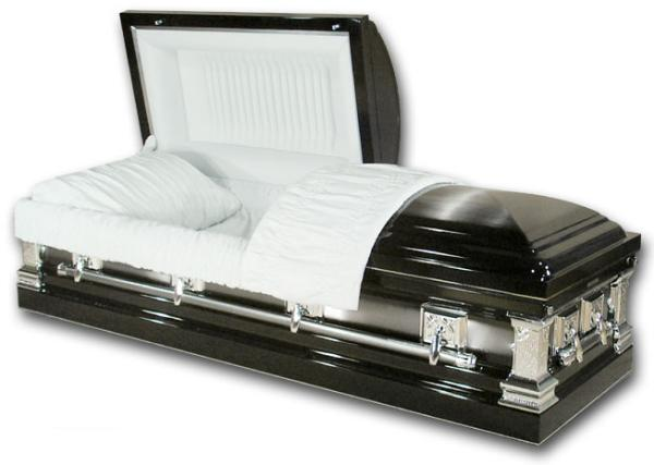 Casket: Remington - Ebony Silver Steel Casket