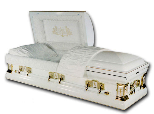 Casket: White Cross-Bible Casket